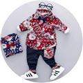 2017 del otoño del resorte ropa para niños flores de algodón de manga larga t-shirt + pants gentleman Coreana de dos piezas de ropa para niños trajes