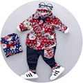 2017 roupas primavera outono das crianças de manga comprida camisa floral de algodão + calças define cavalheiro Coreano de duas peças roupa dos miúdos ternos