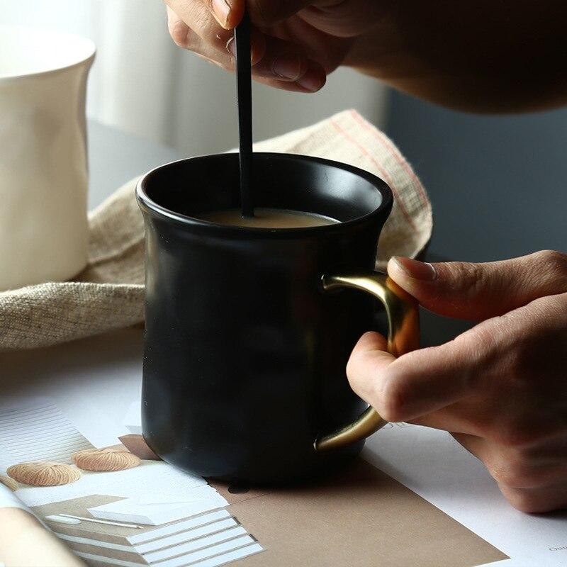 1pc Brief Black Mug Ceramic Milk Mug Coffee Cup With