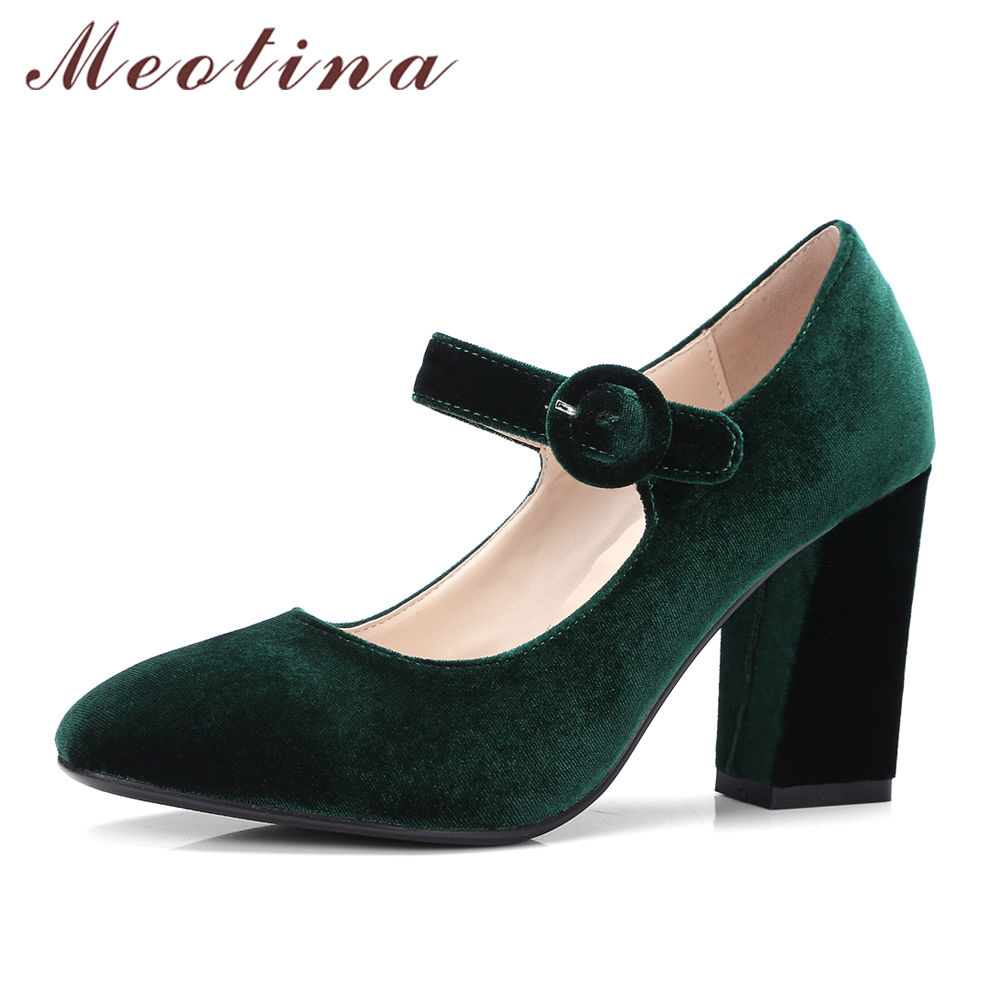 Meotina Velvet Shoes Women Pumps High Heels Ladies Mary Jane Shoes Buckle Black Thick Heels 2018 Fashion Footwear Big Size 34-43 все цены