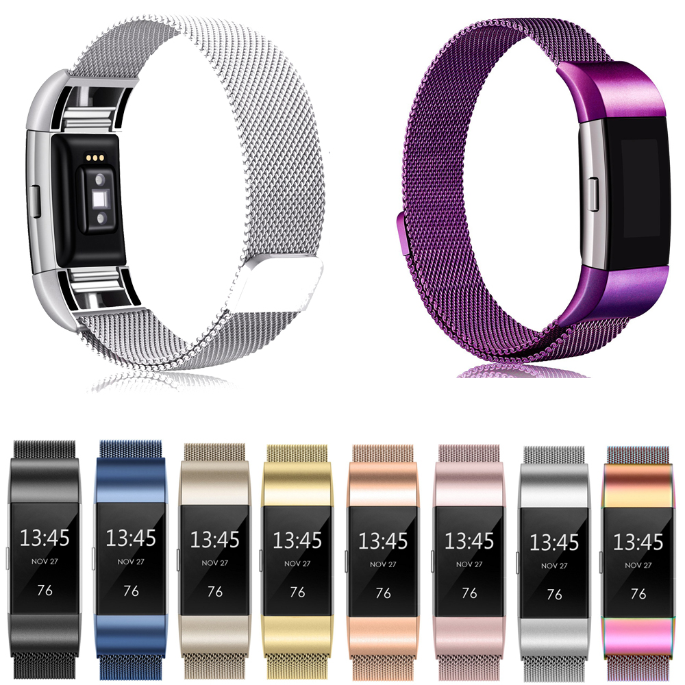 Joyozy Stainless Steel Magnetic Mesh  Loop Band Watch Belt For Fitbit Charge 2 Replacement Wristband Watch Strap Watchband