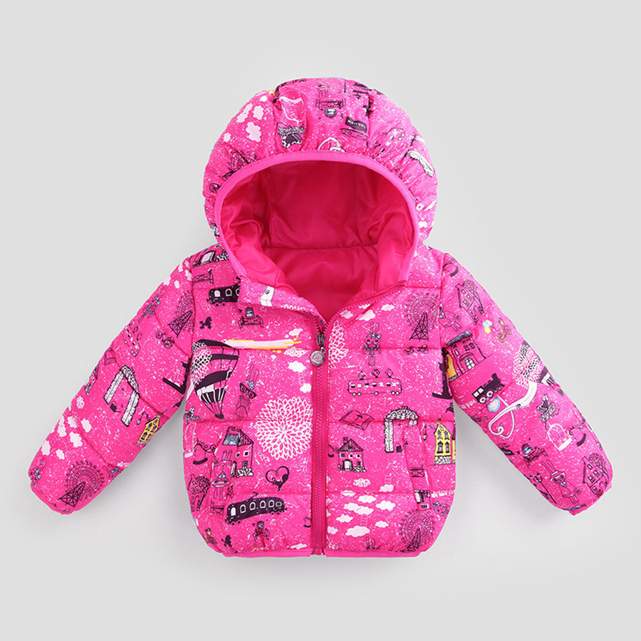 Girls Parka Beautiful Cartoon House And Cloud Cotton Padded Jacket Children Cute Pink Kids Coat Winter Graffiti Jacket For Girls beautiful cartoon rubber strap quartz watch with plane and cloud shaped watchband for children azure