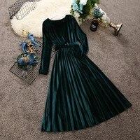 2018 autumn and winter new women round neck long sleeve waist velvet dress female O neck vintage elegant pleated dresses
