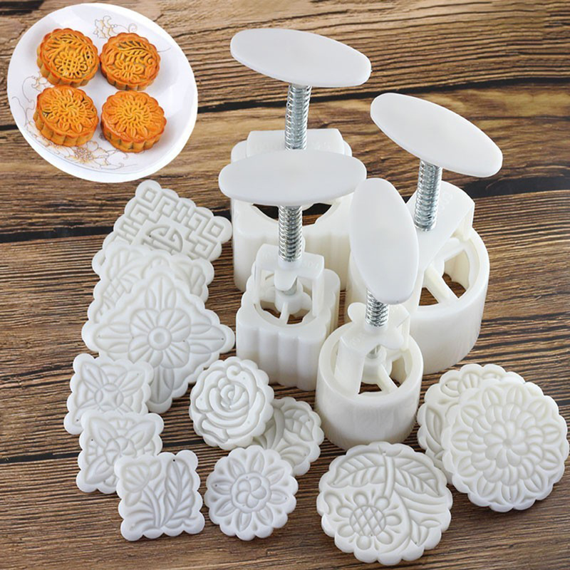 16pcs/set Reusable DIY Moon Cake Molds Hand Pressure Square Round Biscuits Moulds Cookie Cutters Set Cake Decorating Tools