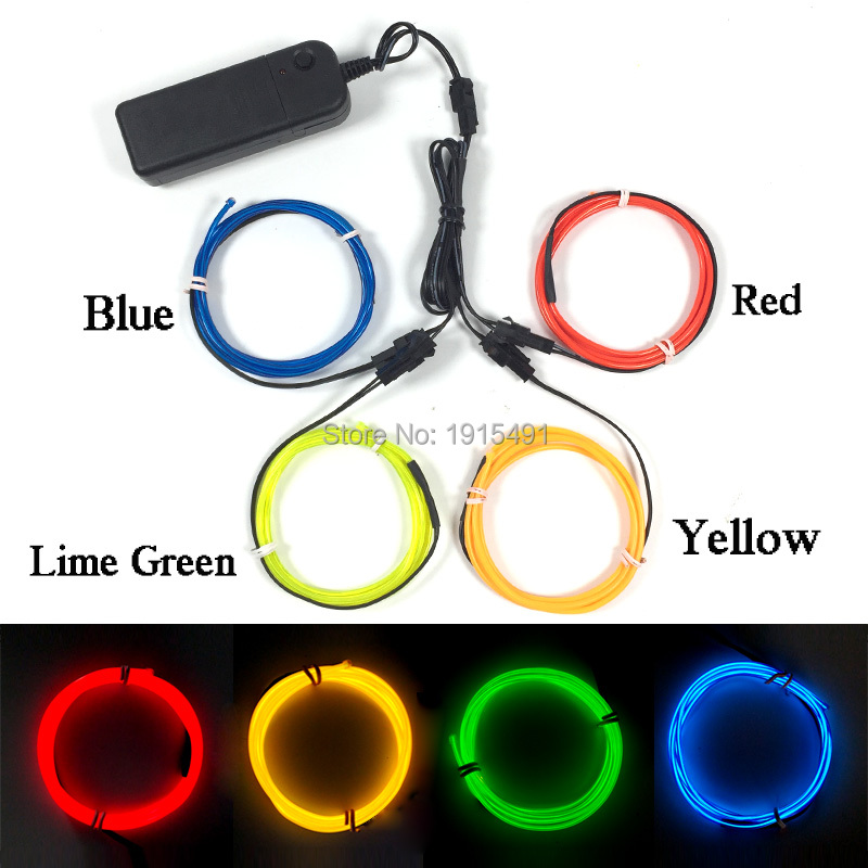 Top Selling 4Pieces 1Meter 2.3mm EL wire Cold Light Luminous Neon Led Strip Car Interior Decor Powered by Battery with Driver