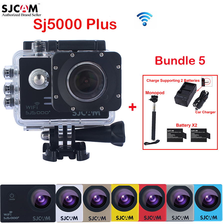 Original SJCAM SJ5000 Plus WiFi 30M Waterproof Sports Action Camera Sj 5000 plus DVR+2Battery+Dual Wall Car Charger+Selfie Stick original sjcam m20 wifi 4k 24fps 30m waterproof sports action camera sj cam dvr 2 extra battery dual charger remote monopod
