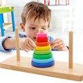 Mwz educativos matemáticas juguetes de madera para niños de colores torre de Hanoi Color Cognitiva Regalos de Cumpleaños Para Los Niños Por Encima de 3 Años de edad
