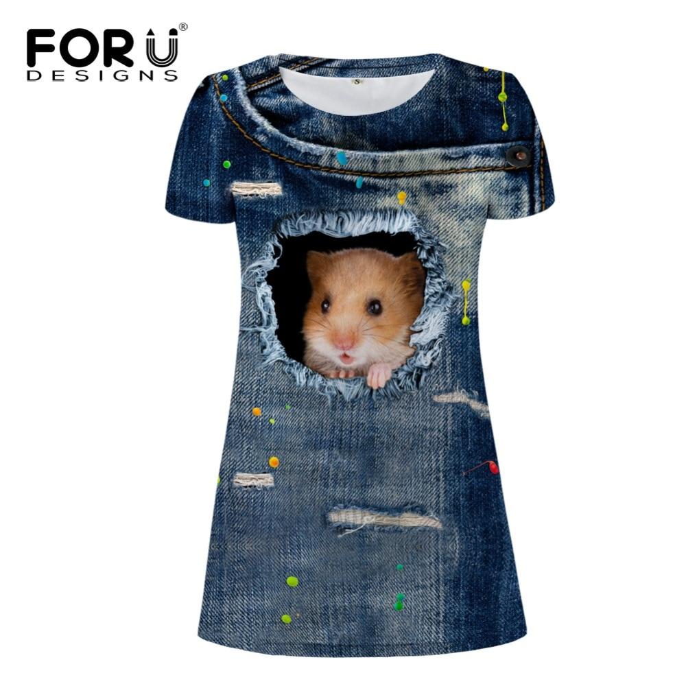 FORUDESIGNS Vestido Casual Vestidos de mujer, Denim 3D Jeans Cat Dog - Ropa de mujer