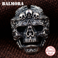 BALMORA Solid 925 Sterling Silver Skull Open Rings for Men Gift Punk Fashion Skeleton Ring Thai Silver Jewelry Anillos SY22084
