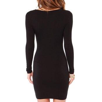 New 2016  Women Summer Autumn Sexy Casual dress Fashion elegent  Black Dress Vestidos Long Sleeve Dress 4