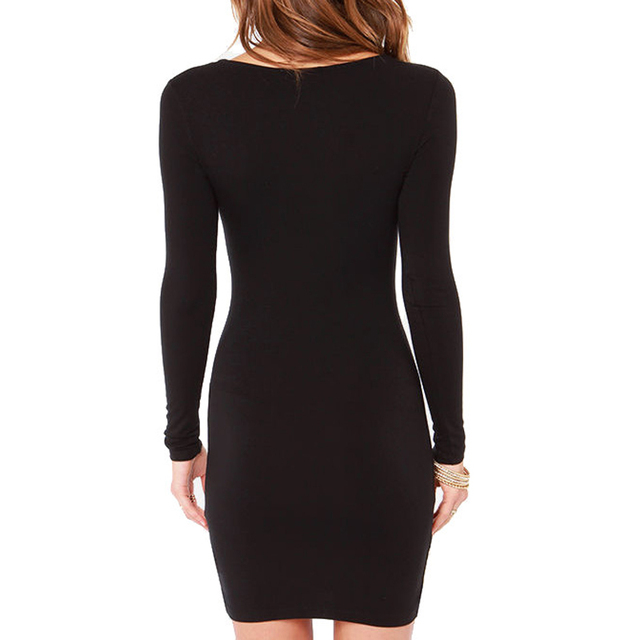 New 2016  Women Summer Autumn Sexy Casual dress Fashion elegent  Black Dress Vestidos Long Sleeve Dress