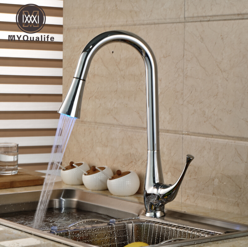 Luxury LED Light 3 Colors Kitchen Mixer Faucet Tap Chrome Finish One Hole Deck Mount Mixers