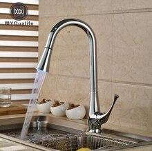 Роскошный Свет 3 цвета кухня смеситель, кран хромированной отделкой одно отверстие Палуба Гора смесители водопроводный кран