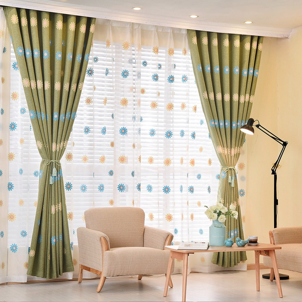 Curtains For A Blue Room Aliexpress Buy For Room Curtain Window Embroidered Curtains Short Girl Curtain Floral Green Bedroom Children Blue Bedroom Drape Linen Blackout