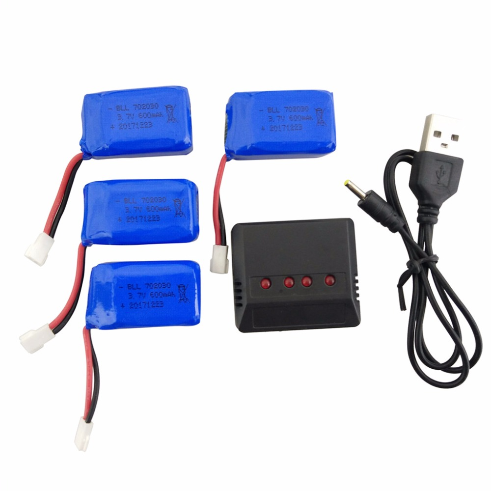 SYMA X9 X9S quadcopter 4PCS <font><b>3.7V</b></font> <font><b>600mah</b></font> lithium <font><b>battery</b></font> with 1 charger 4 spare parts Land and air dual-purpose remote helicopter image