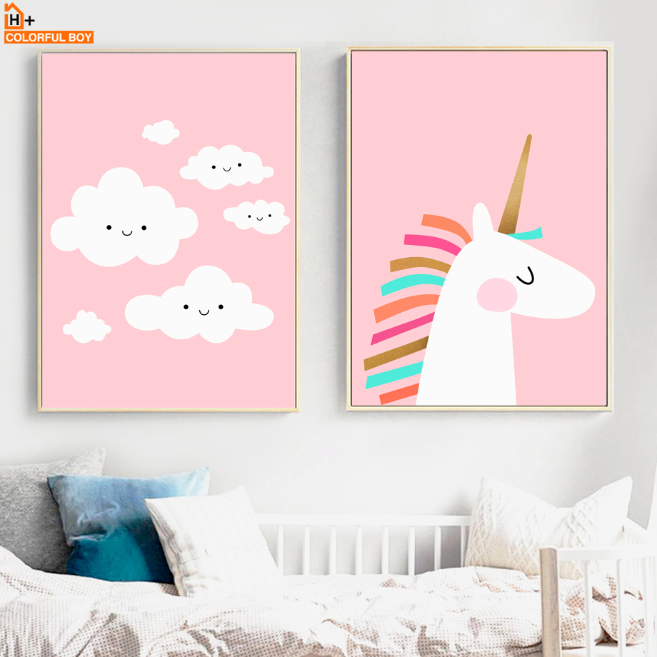 buy pink unicorn cloud wall art canvas painting nordic posters and prints. Black Bedroom Furniture Sets. Home Design Ideas