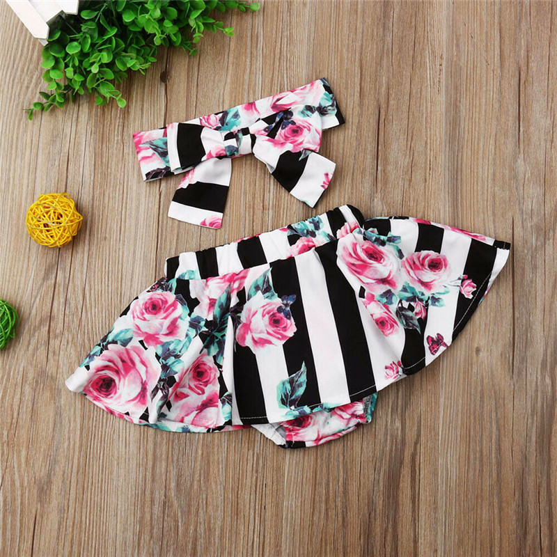 0-3T Striped Baby Girls Clothes Mini Skirts Adorable Toddler Baby Girl Floral Tutu Skirts With Headband Baby Girls Clothing