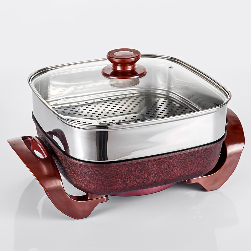 Korean Style Electric Hot Pot Multifunctional No-Smoke Non-stick Cooking Pot 5L Electric Wok Household Cooking Steamer Pan edtid multifunctional electric cooker mini heat pan students hot pot without oil fume nonstick frying pan special offer