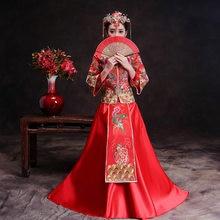 ec09436a5dcf Drago Abito Abito Da Sposa di Stile Cinese Costume Phoenix Cheongsam Vestito  Da Sera Cinese Tradizionale Abito Da Sposa Qipao Ro.