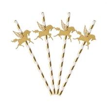 Золотые блестящие вечерние Бумажные Соломенные украшения в виде единорога, новинка, 25x, для детской вечеринки на день рождения, сувениры золотого/серебряного цвета