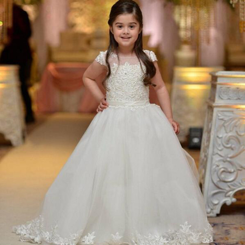 2017 Girls Pageant Dresses Ball Gown Lace Up Cap Sleeves First Communion Gown Appliques Flower Girl Dresses for Weddings Vestido blue pageant dresses for little girls a line spaghetti straps solid appliques crystal lace up flower girl first communion gowns