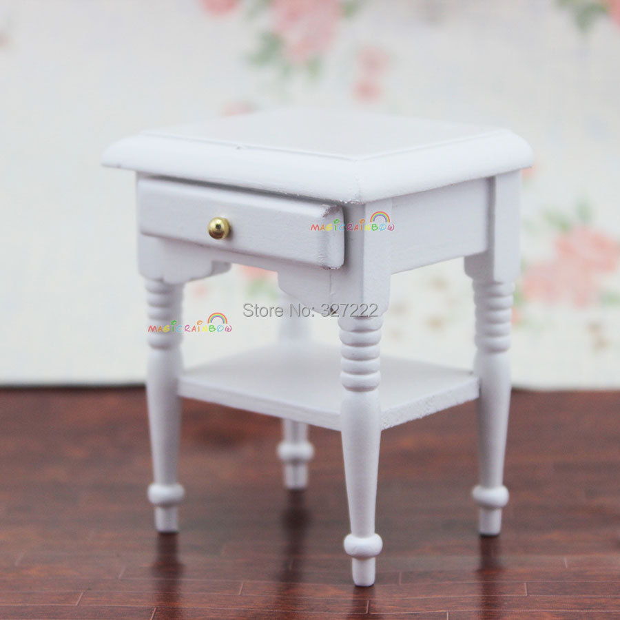 Sofa Side Coffee Table W Drawer For Bedside Lamp White 1 12 Scale