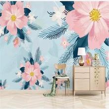 Custom wallpaper retro modern minimalist hand-painted flowers and birds garden small fresh background wall waterproof material