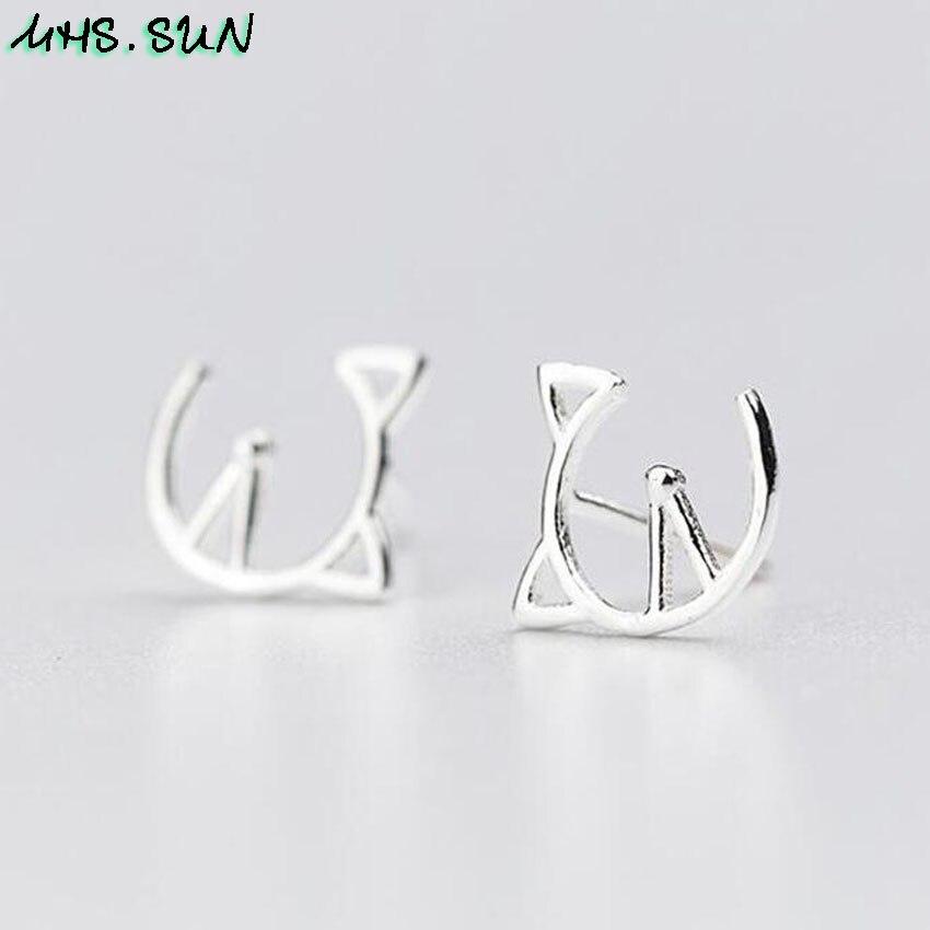 9,HN009,$1.85,10x9mm, Women 925 sterling silver earrings cute hollow cat design S925 silver stud earrings for girls gift party jewelry  (2)