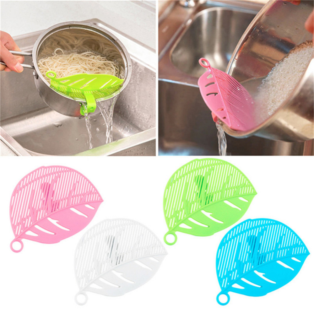 Hot Sale 1pcs Colorful Leaf Shaped Rice Strainer Sieve Beans Peas Cleaning Gadget Strainer Durable Light and Handy Kitchen Tools