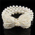 Nueva Moda Pequeña Hebilla Arco Incrustación de Perlas Rhinestone Cinturones Elásticos Para Las Mujeres del todo-fósforo Vestido A316 Envío Gratis