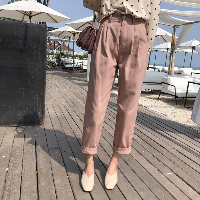 Mishow New Women's Pants 2019 Women Spring Autumn High Waist Wide Leg Pants Casual Loose  Cropped Trousers MX19A2571