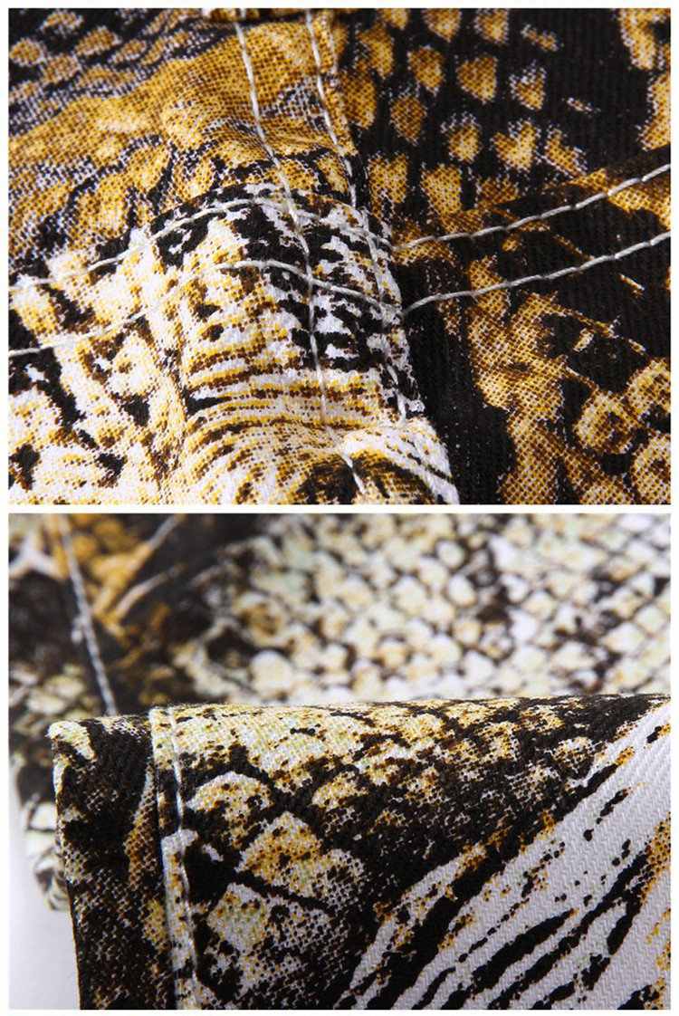 Snakeskin Print Mens Jeans Brand Denim Skinny Tights Slim Fit Biker Jeans Men Stretch Cotton Male Designer Pencil Pants Jogger 8