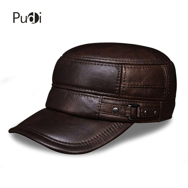 HL064 Men's genuine leather baseball cap hat brand new spring real cow leather  beret caps men's hats