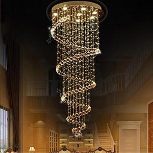 Image 4 - חדש מודרני LED K9 קריסטל נברשת וילה יוקרה קריסטל נברשת מדרגות מנורת סלון אורות