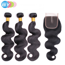 BY Pre-Colored Malaysian Non-remy Body Wave With Closure Human Hair Weave Natural Color Hair With Closure Bundles Middle Part