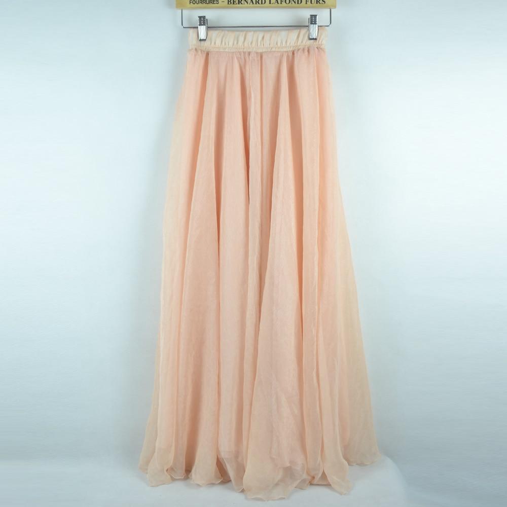 Sherhure 19 High Waist Women Chiffon Long Skirts Floor Length Ruffles White Summer Boho Maxi Skirt Saia Longa Faldas 35