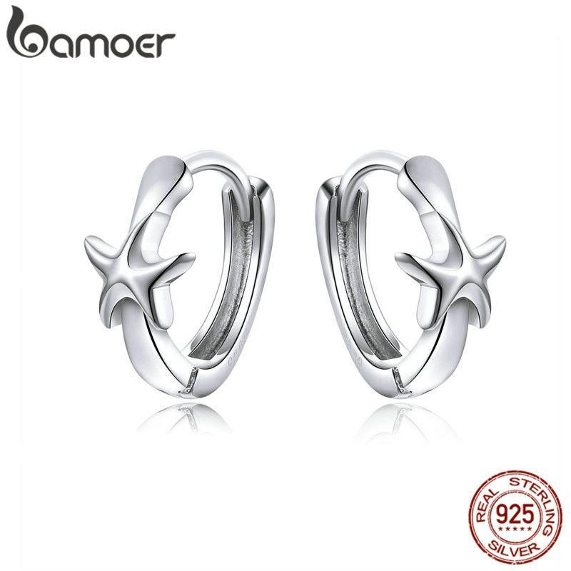 Bamoer Silver Tiny Hoop Earrings For Girl Jewelry Silver 925 Starfish Leaf Heart Knot Ear Hoops Anti-allergy Brincos SCE650