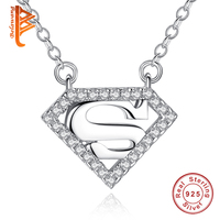 BELAWANG High Quality Superman Necklace For Women Men 925 Sterling Silver Heart Pendant Necklace With 45CM
