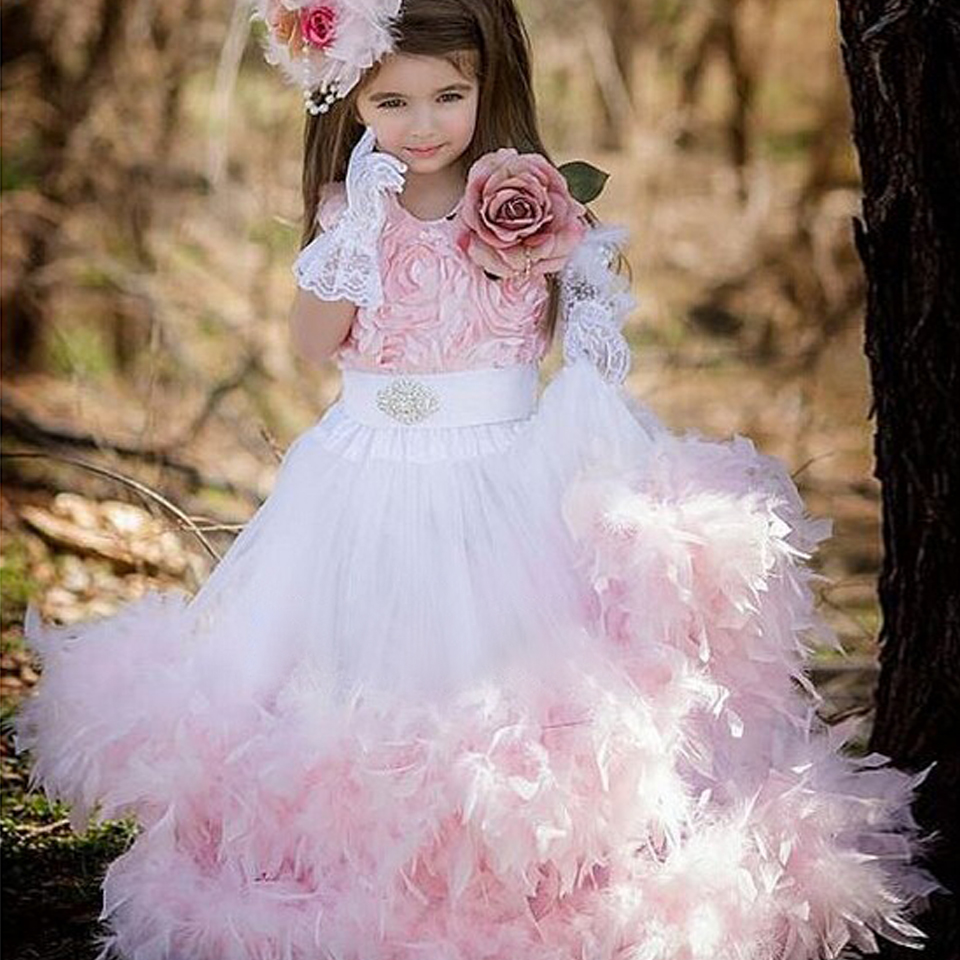Dusty Rose Romance Fabulous Embroidered Mesh Gown Pink Rosette Crystal Beading Sleeveless Cupcake Feather Flower Girl Dress 12