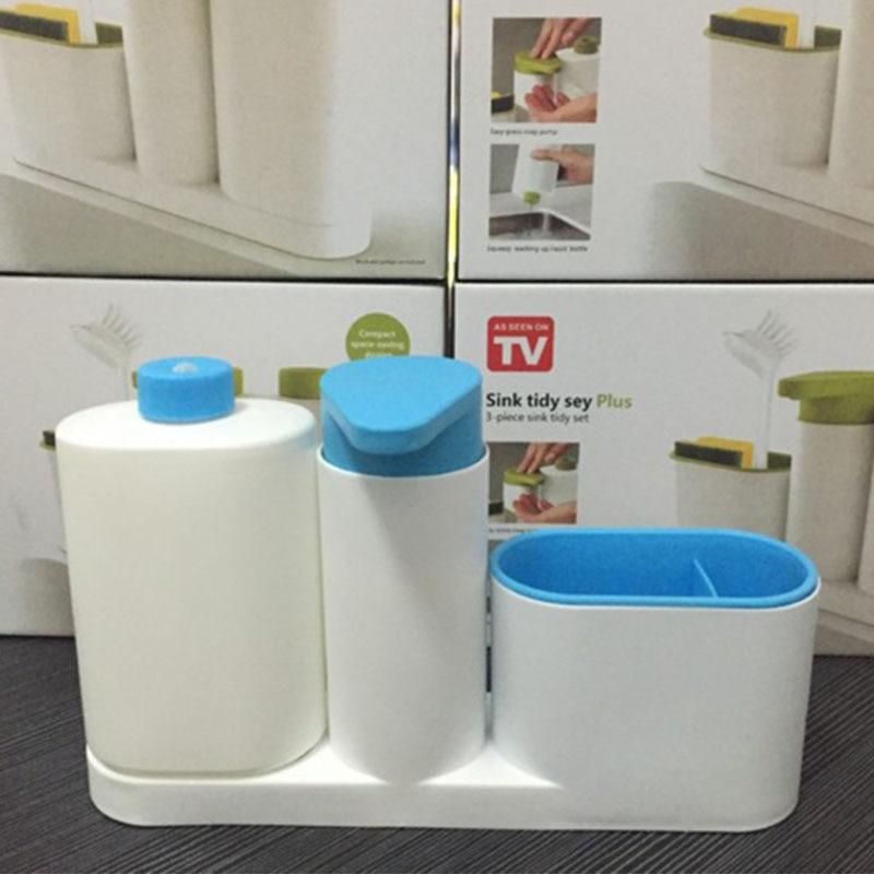 Multi-function Kitchen Storage Racks Bathroom Liquid Soap Dispenser Sponge Holder container Toothbrush Organizer Cooking Gadget