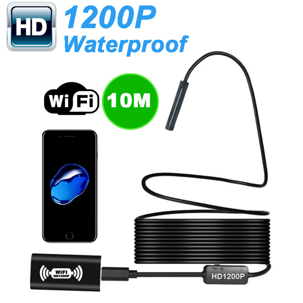 2/3.5/5/10M Wifi Micro Endoscope 1200P HD Camera Megapixels for IOS Android Waterproof Camcorder Engine Borescope Pipe 8mm 8 LED2/3.5/5/10M Wifi Micro Endoscope 1200P HD Camera Megapixels for IOS Android Waterproof Camcorder Engine Borescope Pipe 8mm 8 LED