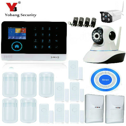 YoBang Security Android IOS APP Home Security WiFi GSM Wireless Alarm With PET Friendly PIR Motion Sensor Outdoor IP Camera .