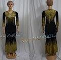 2016 Новый Дизайн Утолщение Африканских Женщин Базен Dashiki Тонкий Эластичный Длинные Рукава Вечернее Платье Для Леди