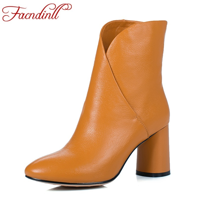 FACNDINLL 2018 fashion handmade genuine leather ankle boots for women boots autumn winter boots dress shoes woman casual shoes facndinll women ankle boots new fashion autumn winter genuine leather high heels lace up shoes woman dress party short boots