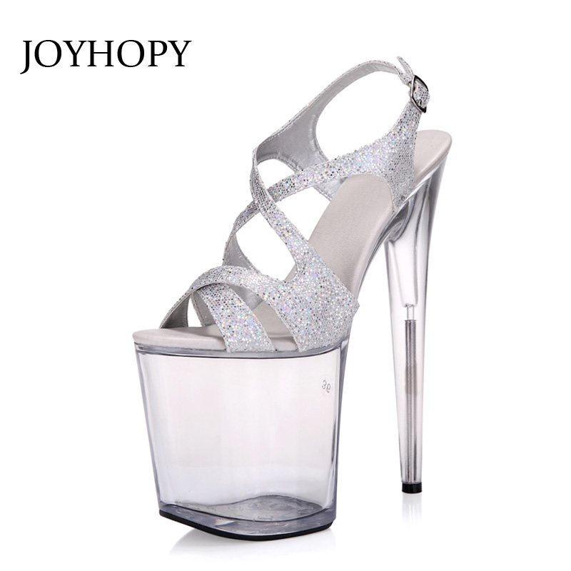 JOYHOPY Super High Heels 20cm Nightclub Crystal Sandals Women Party Dress Shoes Woman Platform Wedding Pumps Big SIZE оправа miu miu miu miu mi007dwhag36