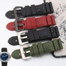 Alta qualidade pulseira de borracha à prova d' água 24 MM 26 MM preto vermelho fivela de cinta para PAM00616 PAM 00305 47mm dial acessórios frete grátis