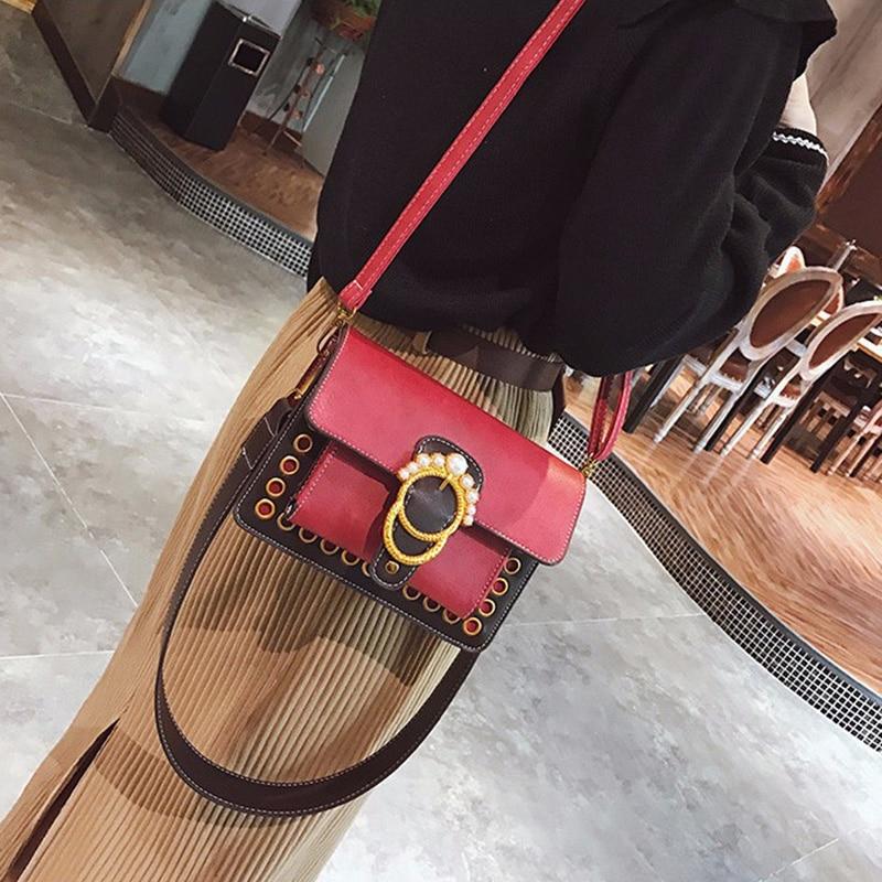 Vintage PU Leather Women Bags Brand Female Handbag Crossbody Bag Fashion Mini Shoulder Bag Teenager Girls Purse Messenger Bags in Shoulder Bags from Luggage Bags