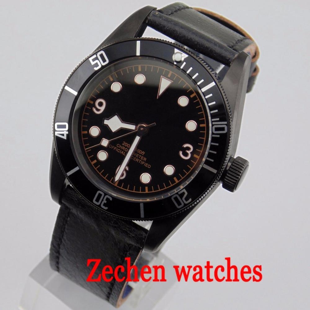 41mm Corgeut Men's Watch MIYOTA Automatic Movement Mechanical Watch Black Waterproof Automatic Mechanical Watch