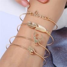 Bohopan 4PCS/Set High Quality Bracelets For Women Fashion Simple Open Leaves Boho New Design Gold Bracelet Bangles