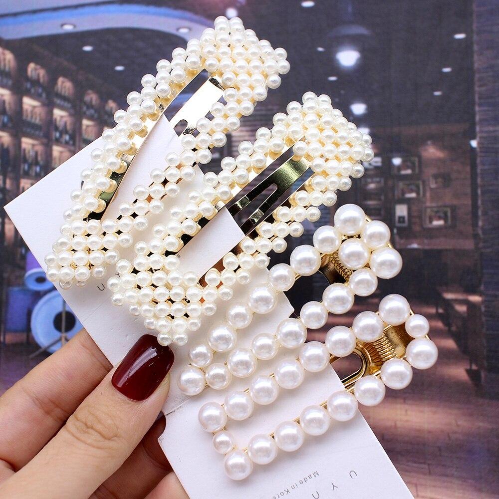 2019 Fashion Woman Hair Accessories Pearl Hair Clip Pin Metal Geometric Alloy Hairband Barrettes Hairgrip Barrette Girls Holder